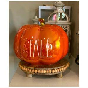 """Rae Dunn Iridescent """"Fall"""" Luster Pumpkin Autumn Decor 4"""" Tall"""